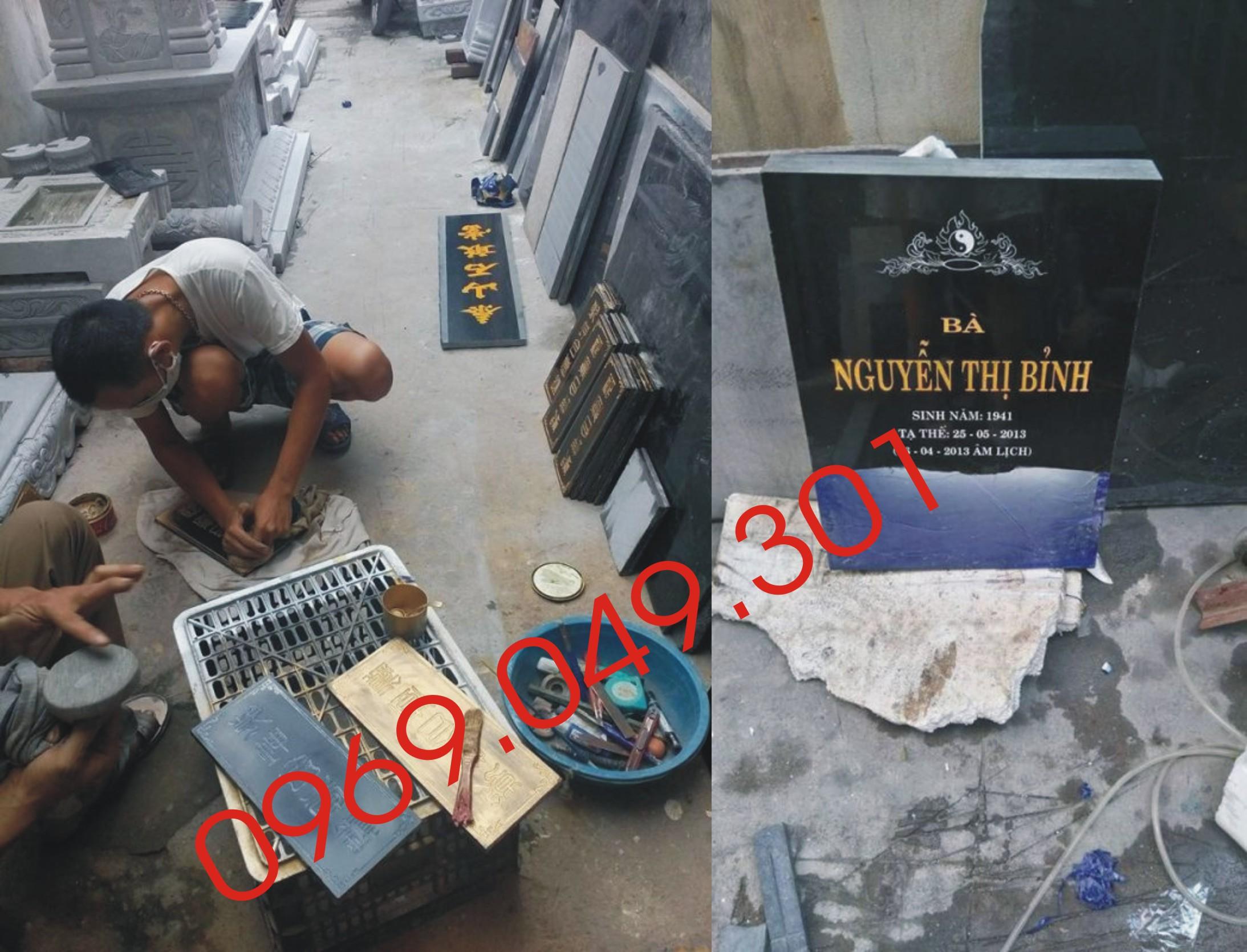 Bia mộ thi công tại xưởng
